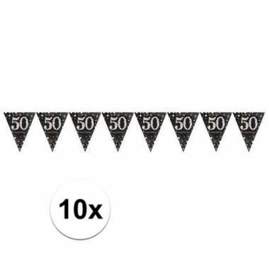 10x 50 jaar vlaggenlijn zwart 4 meter
