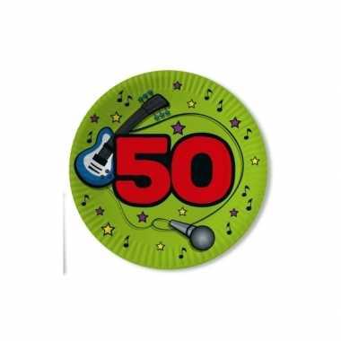 10x stuks papieren party bordjes verjaardag 50 jaar groen 23 cm
