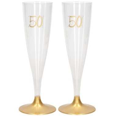 18x champagneglazen/flutes 14 cl/140 ml van kunststof met gouden voet - abraham/sarah/50 jaar