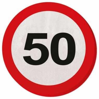 20x 50 jaar leeftijd themafeest servetten verkeersbord 33 cm ron