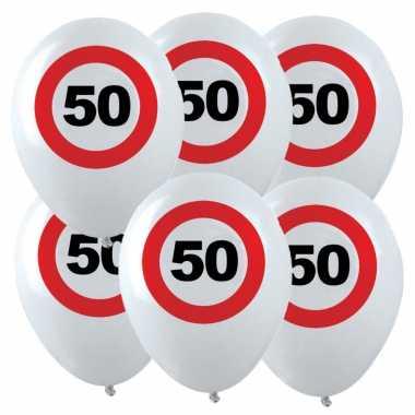 24x leeftijd verjaardag ballonnen met 50 jaar stopbord opdruk 28 cm