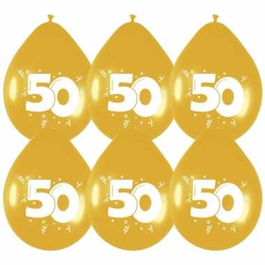 24x stuks gouden ballonnen 50 jaar feestartikelen