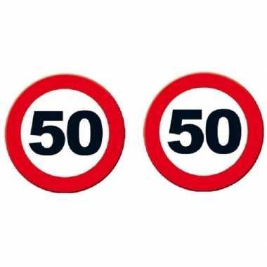 2x 50 jaar verjaardag feestdecoratie verkeersbord 49 cm