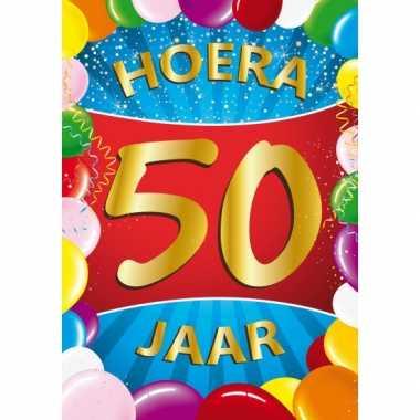 2x stuks 50 jaar mega deurposter 59 x 84 cm leeftijd verjaardag feestartikelen