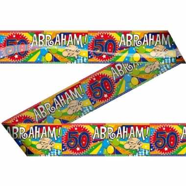 2x stuks abraham 50 jaar versiering markeerlinten/afzetlinten