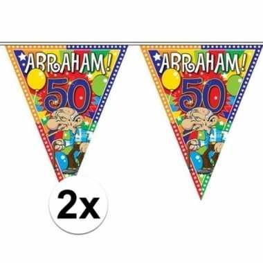 2x stuks abraham 50 jaar versiering vlaggenlijnen 10 meter