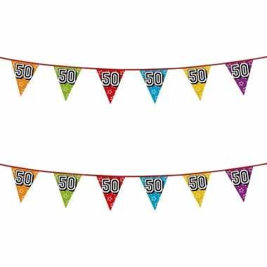2x stuks vlaggenlijnen glitters 50 jaar sarah/abraham thema feestartikelen