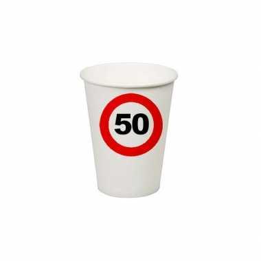 32x stuks verjaardag feest bekertjes 50 jaar stopbord thema