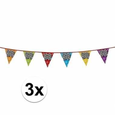 3x 50 jaar vlaggenlijn glitters