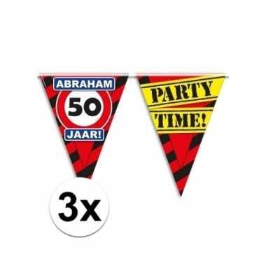 3x abraham 50 jaar vlaggenlijn waarschuwingsbord 10mtr