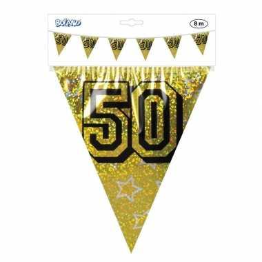 3x gouden bruiloft jubileum vlaggenlijn 8 meter