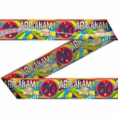 3x stuks abraham 50 jaar versiering markeerlinten/afzetlinten
