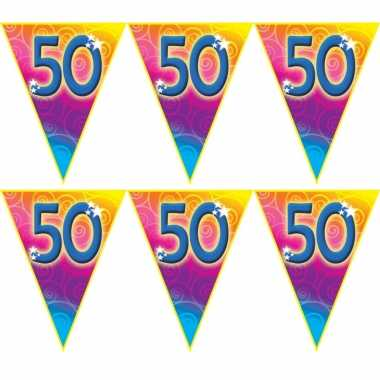 3x stuks verjaardag thema 50 jaar geworden feest vlaggenlijn van 5 meter