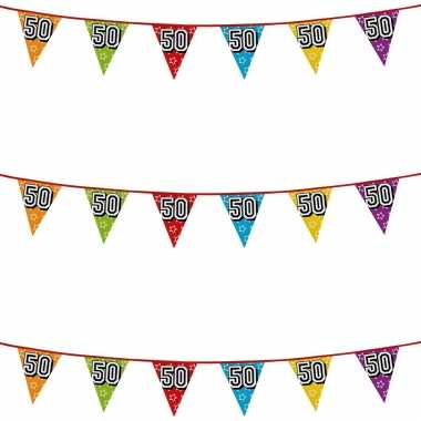 3x stuks vlaggenlijnen glitters 50 jaar sarah/abraham thema feestartikelen