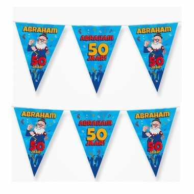 4x 50 abraham party vlaggenlijnen cartoon 10 m verjaadag versiering