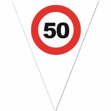 4x stuks leeftijd verjaardag vlaggenlijn met 50 jaar stopbord opdruk 5 meter