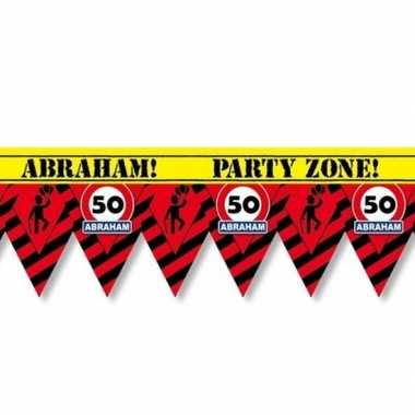 50 abraham party tape/markeerlint waarschuwing 12 m versiering