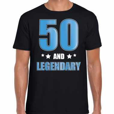 50 and legendary / abraham verjaardag cadeau 50 jaar t-shirt zwart voor heren
