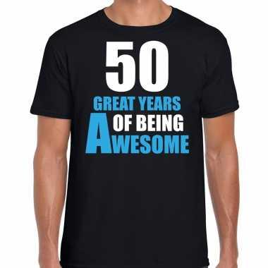 50 great years of being awesome verjaardag cadeau t-shirt zwart voor heren