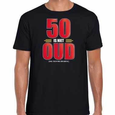 50 is niet oud verjaardag cadeau / abraham t-shirt zwart voor heren
