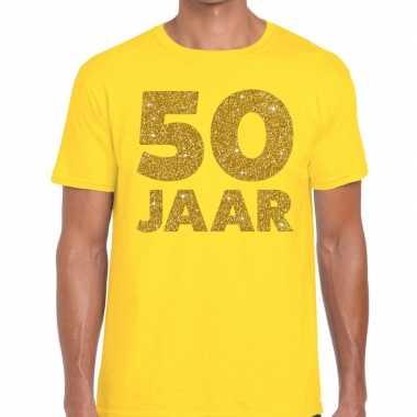 50 jaar goud glitter verjaardag t-shirt geel heren