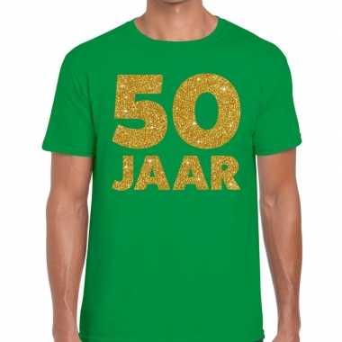 50 jaar goud glitter verjaardag t-shirt groen heren