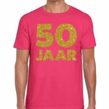 50 jaar goud glitter verjaardag t-shirt roze heren