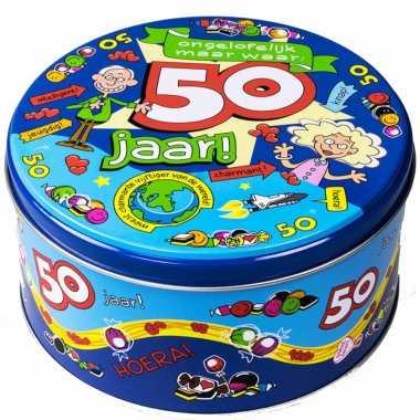 50 jaar snoeptrommel/voorraadtrommel cadeau voor 50e verjaardag