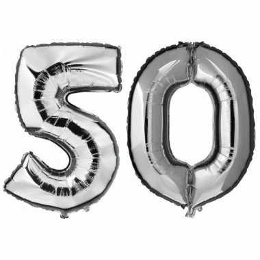 50 jaar zilveren folie ballonnen 88 cm leeftijd/cijfer