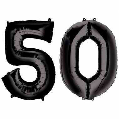 50 jaar zwarte folie ballonnen 88 cm leeftijd/cijfer