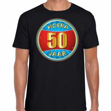 50e verjaardag cadeau t-shirt hoera 50 jaar zwart voor heren