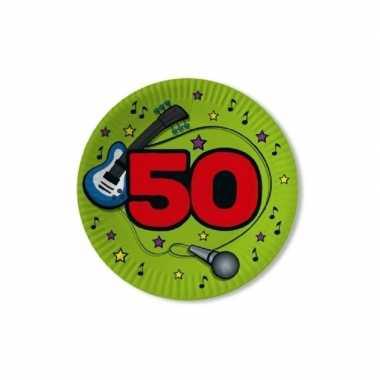 50x stuks papieren party bordjes verjaardag 50 jaar groen 23 cm