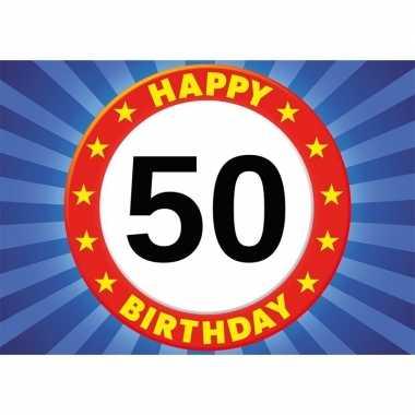 5x 50 jaar verjaardag kaart/ wenskaart happy birthday