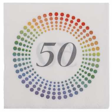 80x leeftijd 50 jaar themafeest/verjaardag servetten 33 x 33 cm confetti