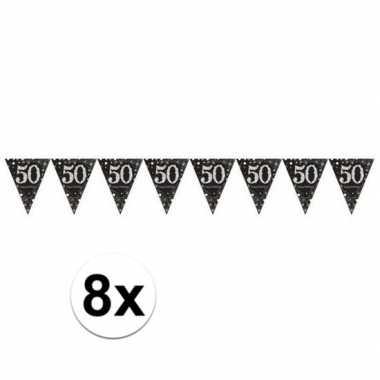 8x 50 jaar vlaggenlijn zwart 4 meter