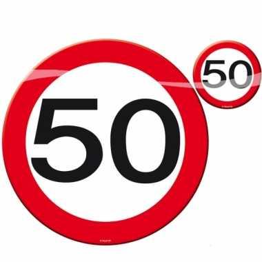 8x stuks placemats en 8x onderzetters 50 jaar leeftijd feestartikelen