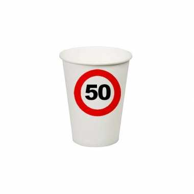 8x stuks verjaardag feest bekertjes 50 jaar stopbord thema