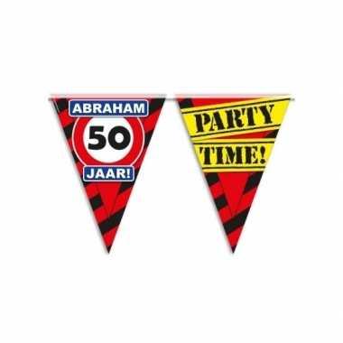 Abraham 50 jaar vlaggenlijn waarschuwingsbord 10mtr