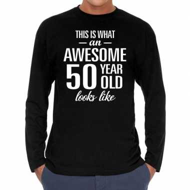 Awesome 50 year / 50 jaar cadeaushirt long sleeves zwart heren