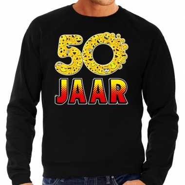 Funny emoticon sweater 50 jaar zwart heren