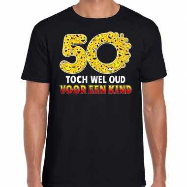 Funny emoticon t-shirt 50 toch wel oud voor een kind zwart heren