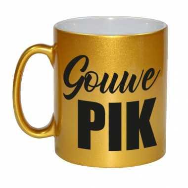Gouwe pik cadeau mok / beker goud cadeau collega / opa / papa / vriend / familie / abraham 330 ml