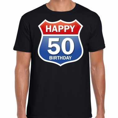 Happy birthday 50 jaar / abraham verjaardag t-shirt route bordje zwart voor heren