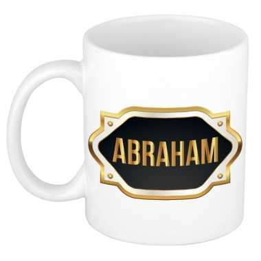 Naam cadeau mok / beker abraham met gouden embleem 300 ml