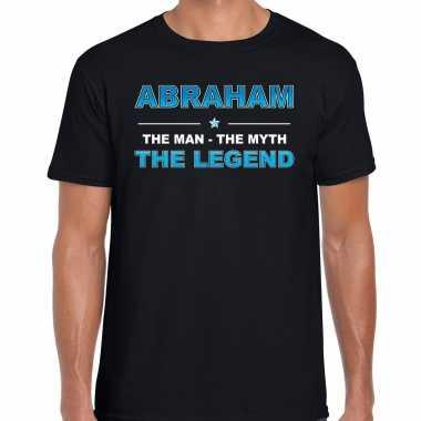 Naam cadeau t-shirt abraham - the legend zwart voor heren