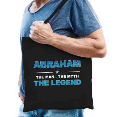 Naam cadeau tas abraham - the legend zwart voor heren