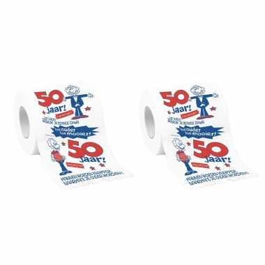 Set van 2x stuks toiletpapier rollen 50 jaar man verjaardagscadeau decoratie/versiering