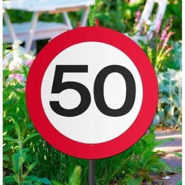 Set van 4x stuks tuinborden versiering 50 jaar feest thema 44 cm