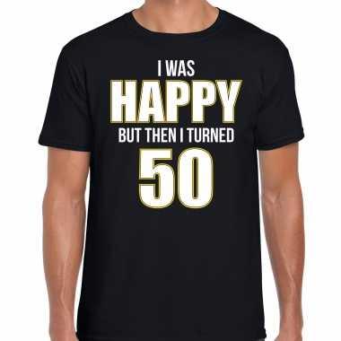 Verjaardag cadeau t-shirt 50 jaar - happy 50 zwart voor heren
