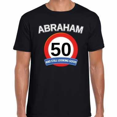 Verjaardag cadeau t-shirt verkeersbord 50 jaar abraham zwart voor heren